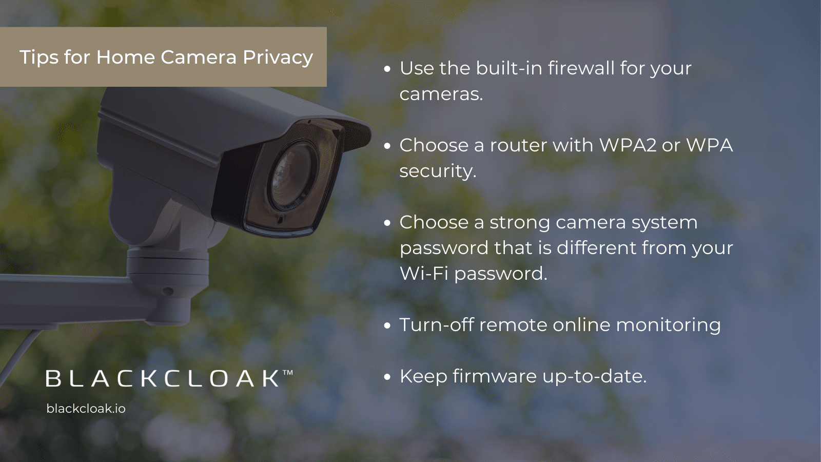 Tips for how to protect security cameras from hackers